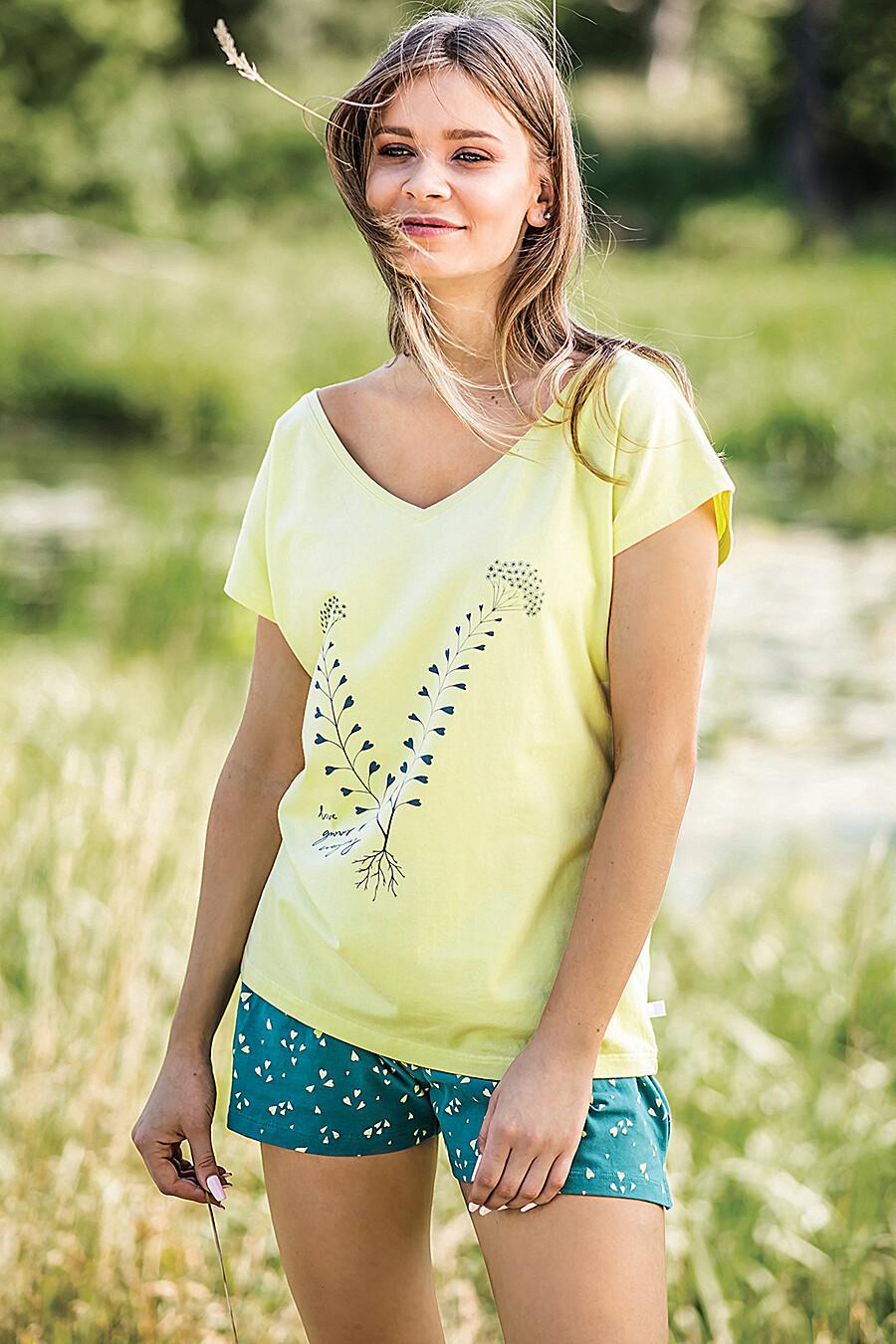 Комплект (Футболка+Шорт) для женщин KEY 116727 купить оптом от производителя. Совместная покупка женской одежды в OptMoyo
