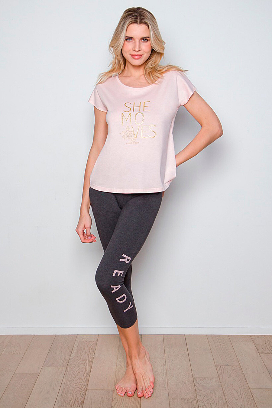 Пижама (Брюки+Футболка) для женщин INDEFINI 288755 купить оптом от производителя. Совместная покупка женской одежды в OptMoyo
