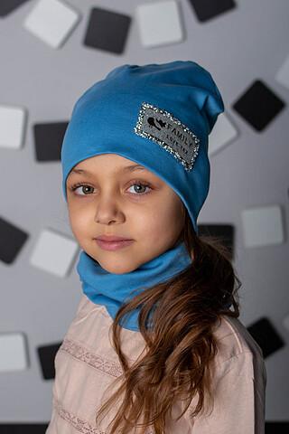 "КМ ""FLT Стразы Голубой"" (шапка + снуд) ДЕТСКИЙ ТРИКОТАЖ 37"