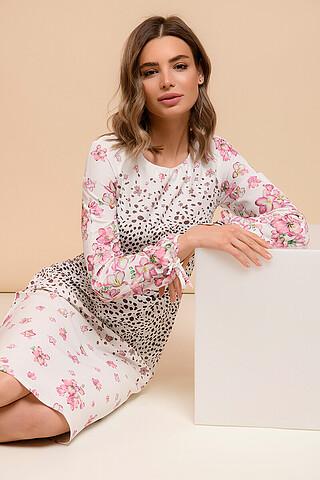 Платье белое длины миди с длинными рукавами и цветочным принтом 1001 DRESS